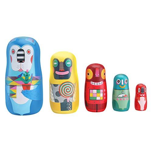 Gadpiparty 5 Stück Aminal Nistpuppen Russische Nistpuppen für Kinder Hölzerne Nistpuppen mit Puppenspielzeug mit Verschiedenen Mustern