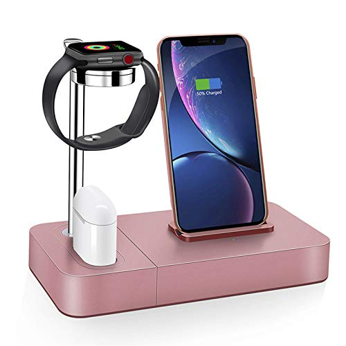 Yangangjin Draadloze oplader, 3in1 aluminium laadstation iWatch Holder Compatibel met iPhone XR/XS Max/X/8Plus/Samsung Galaxy S9 Plus, Compatibel met Apple Watch Series 4/3/2/1 / Airpods