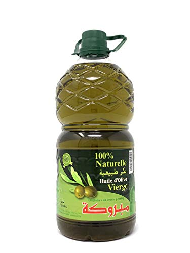 Mabrouka 100% Premium Moroccan Virgin Olive Oil, First Cold Pressed, (2 Liters) 68 Fl Oz