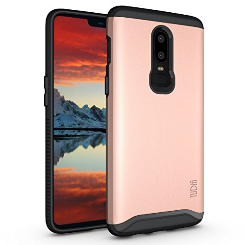 OnePlus 6 Case, TUDIA Slim-Fit Heavy Duty [Merge] Extreme Protection/Rugged but Slim Dual Layer Case for OnePlus 6 (Rose Gold)