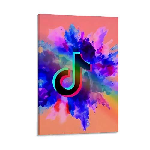 Ghychk Tik Tok Logo Made Live on Tik Tok Art Pinturas modernas para decoración del hogar, decoración de pared para sala de estar, dormitorio, listo para colgar, 20 x 30 cm