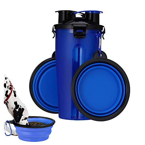 Bebedor Perros Portatil Cuenco Plegable Perro Perro Accesorios de Viaje Botella de Agua para Perro con Cuenco Botella de Agua de Viaje para Mascotas Blue