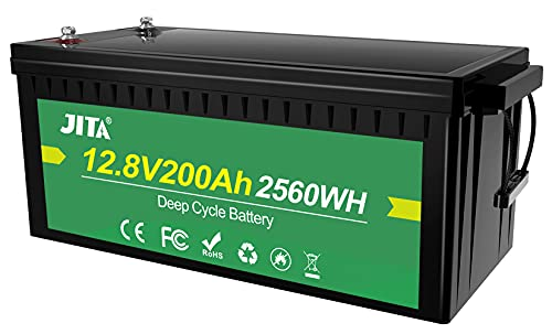 JITA 12V 200Ah LiFePO4, Lithium Deep Cycle Rechargeable Battery, Large Capacity, Waterproof,...