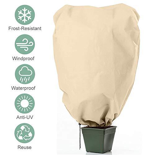 AODOOR Winterschutz Kübelpflanzensack, Pflanzenschutzsack 180 x 120cm Winterschutz für Pflanzen, Frostschutz Schutzhaube mit Kordelzug und Reißverschluss, (Beige)
