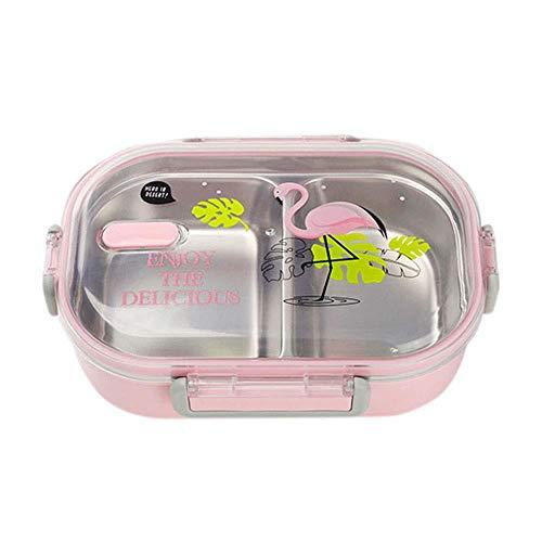 happygirr – Fiambrera Bento Box para niños, Acero Inoxidable, antigoteo, Fiambrera con 2 Compartimentos, Duradera, fácil de Limpiar, para niños, Escuela y Oficina, para Adultos, Color Rosa