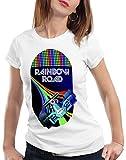 A.N.T. Rainbow Road Camiseta para Mujer T-Shirt Double Dash Kart Tour GP Mario, Color:Blanco, Talla:2XL