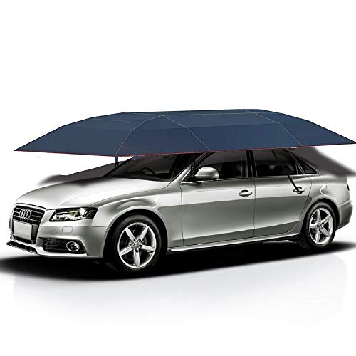 Jolitac Car Tent Semi-Automatic, Portable Car Umbrella Tent Cover Movable Carport Folded Automobile Cars Protection Canopy with Sun Shade Anti-UV, Water-Proof, Snow Wind Proof (Manual, Blue Tent)