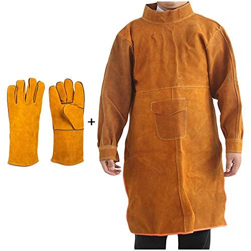 LUCKFY Leder Schweißer Schürze - Schweißen Schürze mit Sleeve - verstellbaren Riemen Schutz Schweißtuch Mantel Anzug für Schweißer, Männer, Frauen, einschließlich der Handschuhe