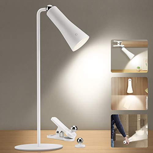 OOWOLF Schreibtischlampe Tageslicht, [3 in 1]Schreibtischlampe LED 3-stufige Helligkeit Einstellbar & Touch-Steuerung, 3W 4000K Naturweiß Flimmerfrei und Ermüdungsfrei Zum Lesen (1 Stück)