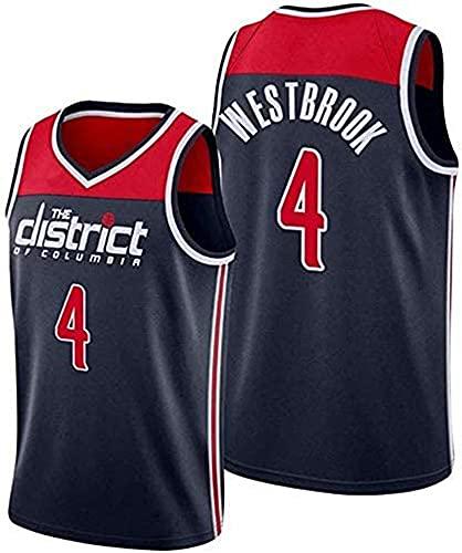 WHYYT NBA Men's Jerseys - Washington Wizards # 4 Russell Westbrook Basketball Jersey, cómoda Camionero de Malla Bordada Transpirable,S(165~170CM/50~65KG)