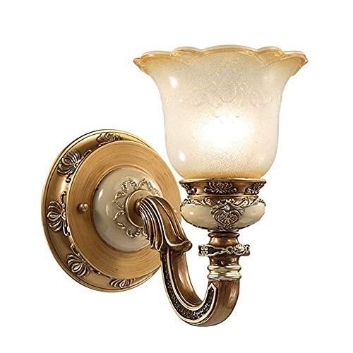 WEM Lámparas de pared, lámpara de pared de estilo europeo, pantalla de vidrio, aplique antiguo, accesorio de iluminación interior vintage Lámparas de pared de montaje empotrado para sala de estar, do