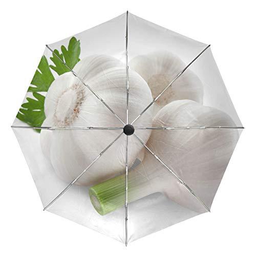 Kleiner Reiseschirm Winddicht im Freien Regen Sonne UV Auto Compact 3-Fach Regenschirm Abdeckung - Weißer Knoblauch DREI Kopf