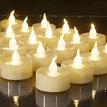 Beichi Set of 24 Flameless LED Tea Lights Bulk Electric Tealight Candles Small Fake Candles Battery Operated Warm White Flickering Mini Candles for Holiday Wedding Party