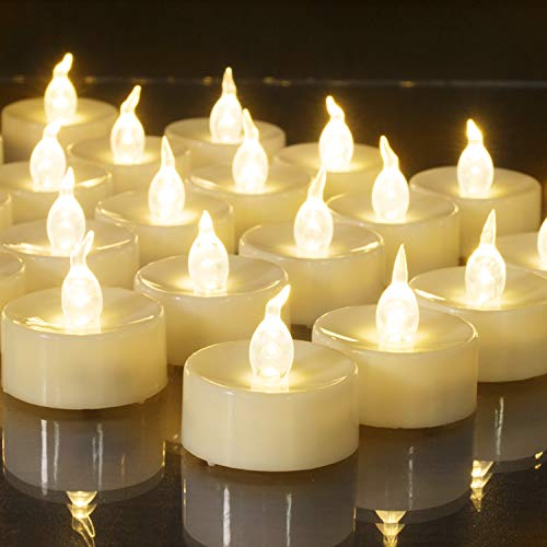 Beichi Set of 24 Flameless LED Tea Lights Bulk, Electric Tealight Candles, Small Fake Candles Battery Operated, Warm White Flickering Mini Candles for Holiday, Wedding, Party