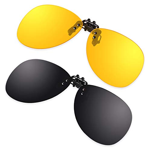 GQUEEN Polarisierte angeklippt Flip Randlose Flieger Objektiv Nachtsicht Fahren Angeln Sonnenbrille,JP94