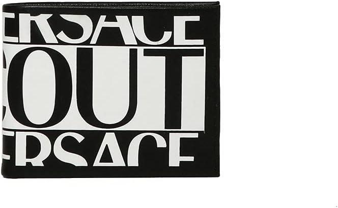 Versace Jeans Couture 71YA5PF1 Cartera Hombre con Monedero Col. Negro con Estampado Macrologo Negro/Blanco