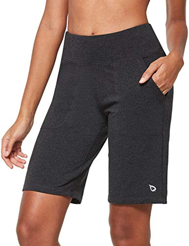 BALEAF Women's 10'' High-Rise Bermuda Lounge Shorts Long Athletic Yoga with Pockets Running Workout Heather Gray Size M
