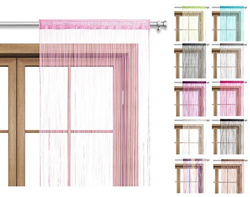 wometo Fadenvorhang Türvorhang Fäden 90x245 cm rosa - Stangendurchzug OekoTex kürzbar waschbar Uni einfarbig in vielen bunten Farben