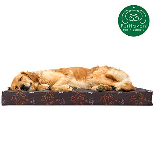Furhaven Pet Dog Bed   Deluxe Orthopedic Mat Water-resistant Indoor/Outdoor Garden Print Traditional Foam Mattress Pet Bed w/ Removable Cover for Dogs & Cats, Bark Brown, Large