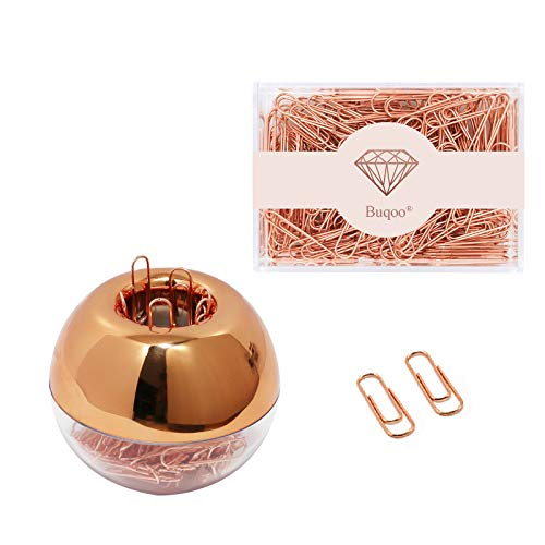 Rose Gold Luxury Fashion Paper Clips 300Pcs Paper Clips Assorted Set with Magnetic Round Paper Clips Holder and Acrylic Clear Clips Dispenser Box for Office School Use