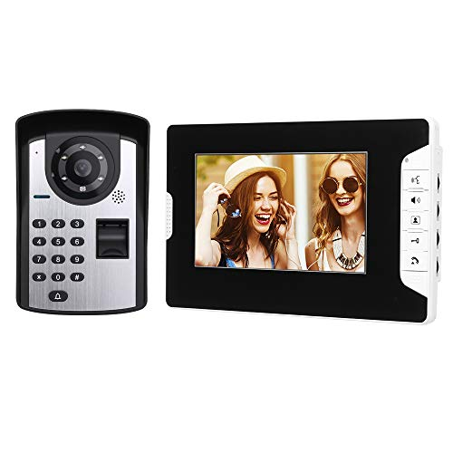 OWSOO 7'' Videoportero Cableado, Cámara Impermeable + LCD Monitor, 1000 Huellas Dactilares + Contraseña + Desbloqueo de Remoto, Visión Nocturna, Audio Bidireccional, Intercomunicador Manos Libres
