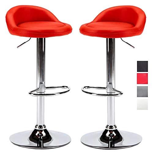 Hubabab barkruk voor keuken, kunstleer, met rugleuning, draaibaar, in hoogte verstelbaar met voetensteun, elegant design, 2 stuks (kleur rood)
