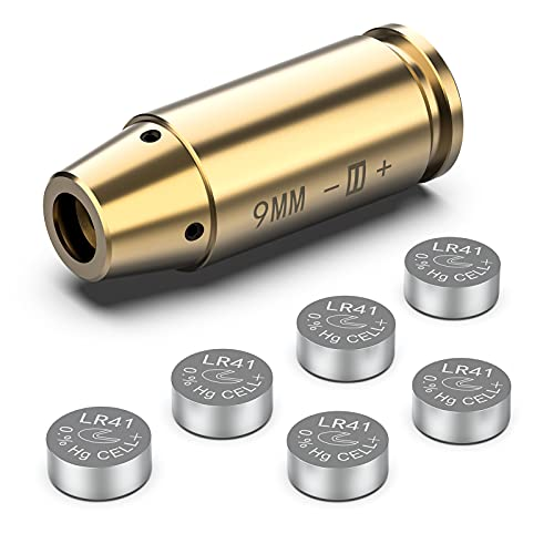 Fyland Laser Bore Sight for 9mm Cartridge Red Dot Laser Zeroing Sight Zero Bore Sighter with 3 Sets of Batteries Accessories