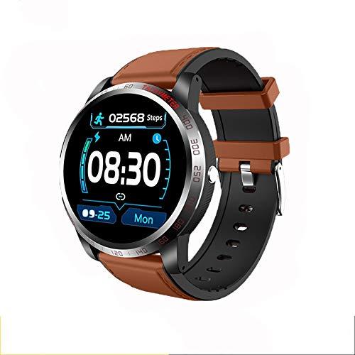 2 unidades de reloj inteligente, 1.3 pulgadas GPS pantalla táctil reloj de pulsera con monitor de frecuencia cardíaca/presión arterial/recordatorio de llamada, para iOS y Android (negro, azul)