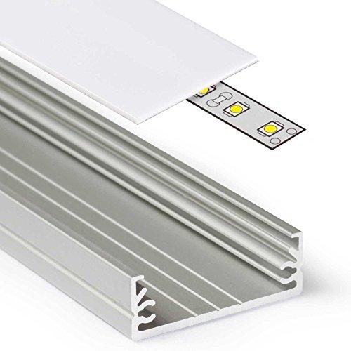 1m Aluprofil WIDE (WI) 1 Meter Aluminium Profil-Leiste eloxiert für LED Streifen - Set inkl Abdeckung-Schiene milchig-weiß opal mit Montage-Klammern und Endkappen (1 Meter milchig slide)