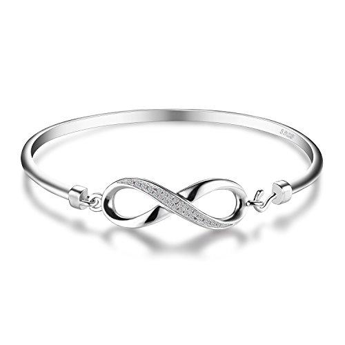 JewelryPalace Pulsera de las mujeres amor siempre brazalete infinito circonio cúbico Aniversario Plata de ley 925