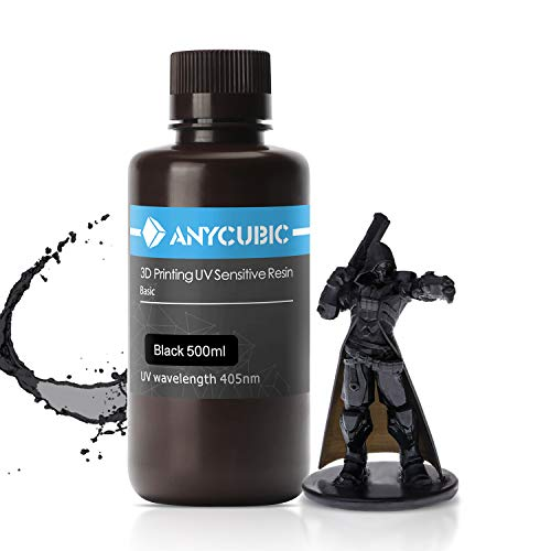 ANYCUBIC 3D Printer Resin, 405nm High Precision Fast Curing UV Photopolymer Resin for Photon/S,Mars/Mono/Mono X,LCD/DLP/SLA 3D Printer(Black, 500ml)