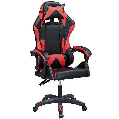 Bakaji - Sillón para gaming, oficina, casa, de piel sintética, respaldo reclinable, cojín lumbar con reposacabezas, rotación de 360 grados, direccional altura ajustable, base de 5 ruedas