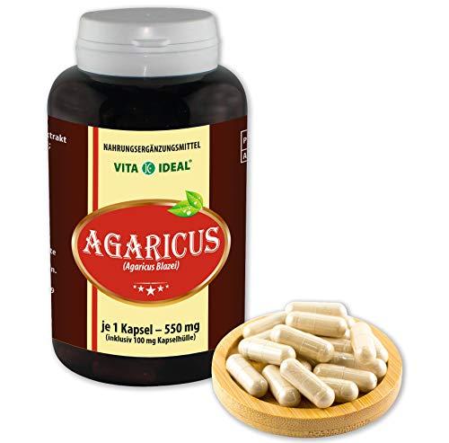 VITAIDEAL ® Agaricus Pilz Extrakt (ABM, Agaricus Blazei Murill, Mandelpilz) 180 Kapseln je 550mg, aus rein natürlichen Pilz Extrakten, ohne Zusatzstoffe von NEZ-Diskounter