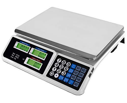 JEVX Bascula Comercial Digital de 40kg 2 EN 1 con BATERIA Recargable y Fuente de Alimentacion - Precision 5 Gramos Comercio Balanza Inalambrica para Fruteria 40 Kilos Peso Industrial Medidor de Peso