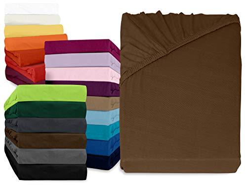npluseins klassisches Jersey Spannbetttuch - erhältlich in 34 modernen Farben und 6 verschiedenen Größen - 100% Baumwolle, 90-100 x 200 cm, Schokobraun