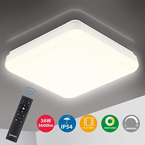 Oeegoo LED Deckenleuchte Dimmbar, 36W 3600Lm LED Deckenlampe dimmbar mit Fernbedienung, IP54 Wasserfest, Lichtfarbe und Helligkeit einstellbar, Flimmerfreie Wohnzimmerlampe, Schlafzimmerlampe