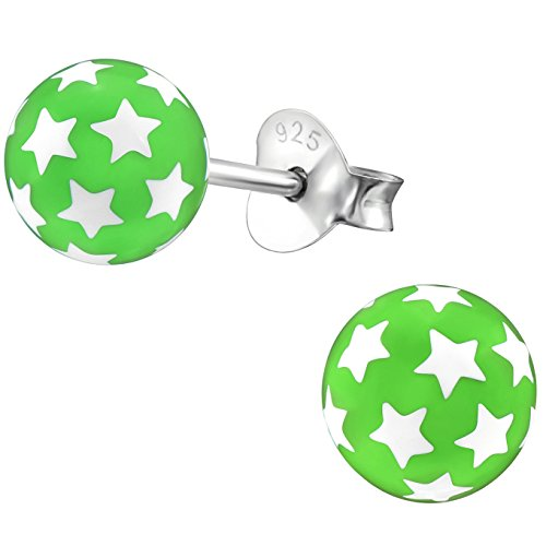 jayare Niños Pendientes Estrellas de plata de ley 925de perlas 6mm niña pendientes rosa azul verde bola en estuche de regalo