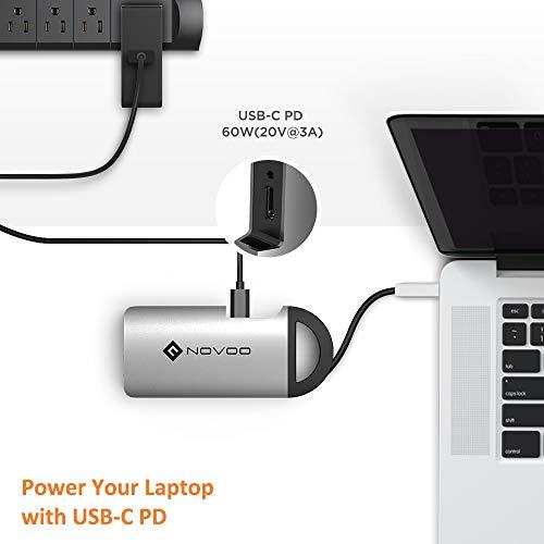 NOVOO USB C Hub 8 Port Aluminium Magnet USB C Adapter mit HDMI 4K, 3 USB 3.0, Gigabit Ethernet 1000Mbps, Type C Power Delivery, SD/TF Ports für Laptop MacBook Pro Samsung Galaxy S8 Huawei Typ-C Geräte