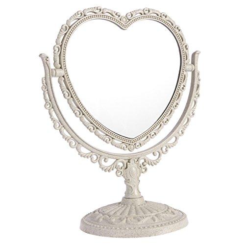 Beaupretty Doppelseitiger Spiegel mit 360 Grad drehbarer Tischplatte, Herzform, Make-up-Kosmetikspiegel, Beige beige