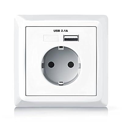 Modelo: Enchufe de pared Enchufe de contacto a tierra y puerto USB + bastidor  Bloque a prueba de niños incorporado   Adecuado para conectar varios consumidores   301232 Tensión de salida: 5V DC (USB)   250V AC (toma de tierra)   Conexiones: 1 x toma...