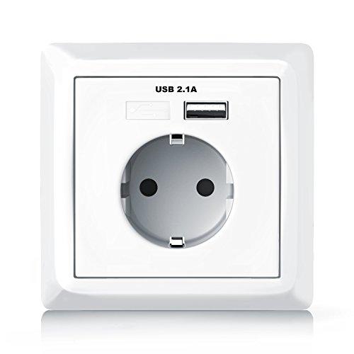 Aplic - Enchufe para la pared con 1 x puerto USB con tapa - Toma de corriente empotrada Schuko - USB con QI inteligente