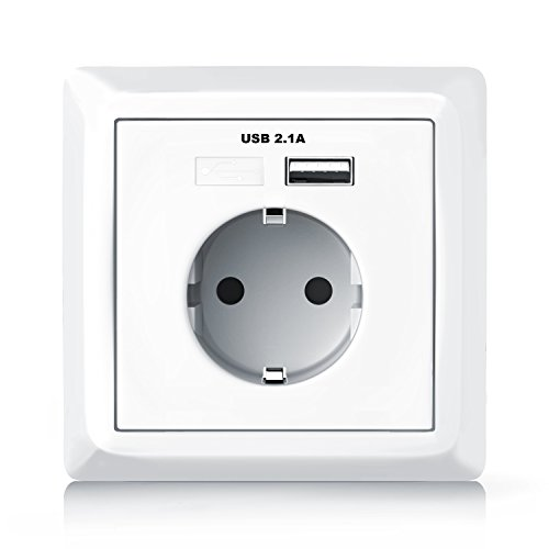 Aplic - Enchufe para la pared con 1 x puerto USB con tapa - Toma...