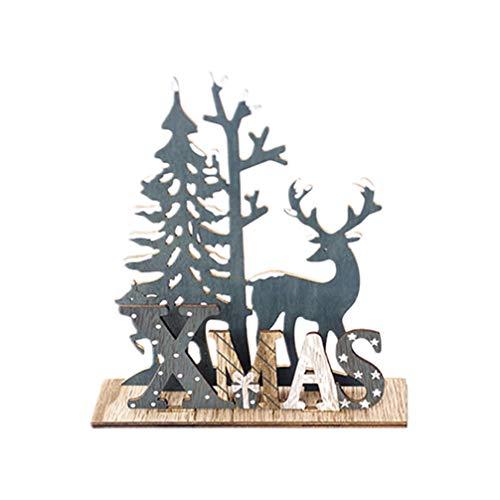 Amosfun Adorno de Escritorio de Madera de Navidad Lindo Alce árbol de Navidad Cartel de Placa de Madera...