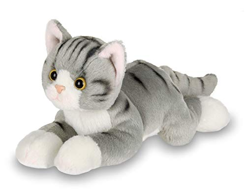 Bearington Lil' Socks Small Plush Stuffed Animal Gray Striped Tabby Cat, Kitten 8 inches