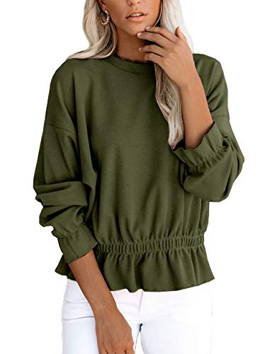 For G and PL Womens Long Sleeve Tops Cotton Casual Tunic Ruffle Peplum Top Elastic Waist Sweatshirts Olive L