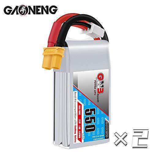 GAONENG GNB 2S 550mAh LiPo Battery 7.4v XT30 80C 2Packs LiPo Battery for Brushless 90mm to 130mm Size FPV