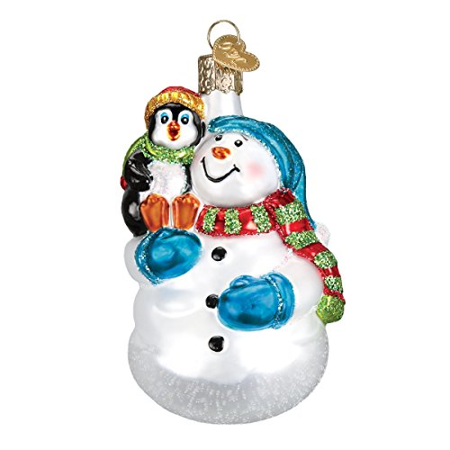 Old World Christmas Ornaments: Snowman with Penguin Pal Glass Blown Holiday Ornament for Christmas Tree