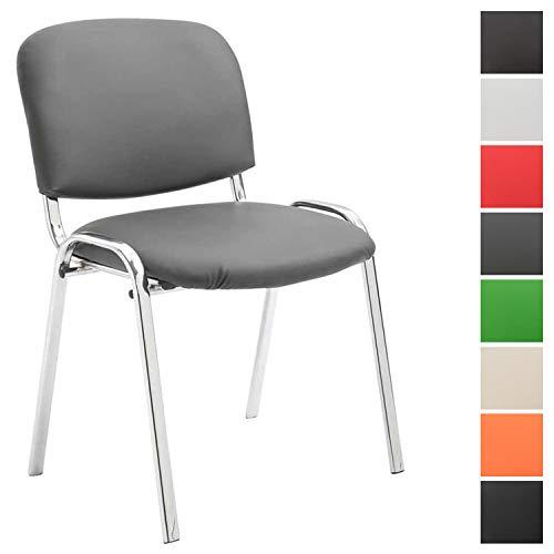 Konferenzstuhl Ken Chrom mit hochwertiger Polsterung und Kunstlederbezug I Stapelstuhl mit robustem Metallgestell in Chromoptik, Farbe:grau