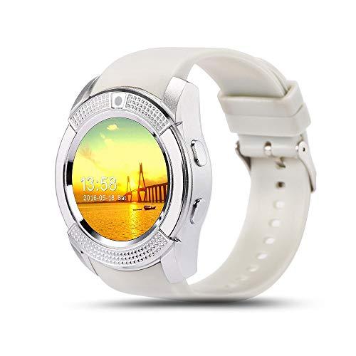 TYOP Reloj Inteligente, Pantalla Redonda de 1.3 Pulgadas, Pulsera táctil montada en la Tarjeta, información de notificación Bluetooth Push Smart Sports Watch (Color : White)