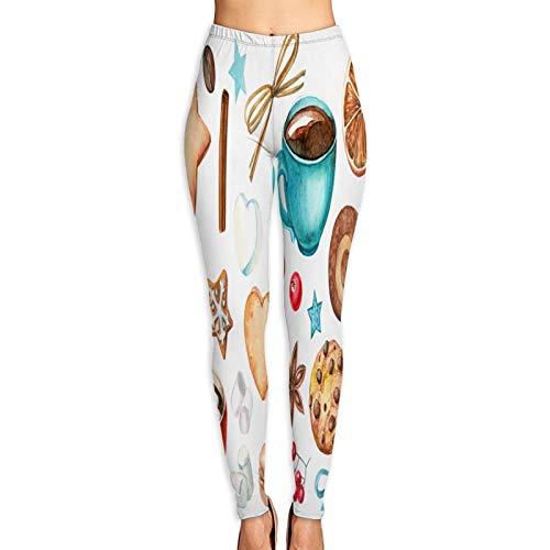 Pantalones de Yoga para Mujer,Acuarela Set Elementos Estrella Corazón Taza,Pantalones de Entrenamiento de Cintura Alta Medias elásticas de Yoga Impresas S